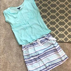 Tee & Striped Skirt Set